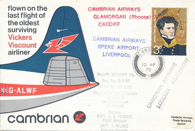 This is the envelope that was carried and franked on the last flight of G-ALWF, on the 12 April 1972