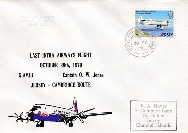 This Intra Airways last flight cover was carried on G-AVJB on a Jersey-Cambridge-Jersey service on the 28 October 1979.