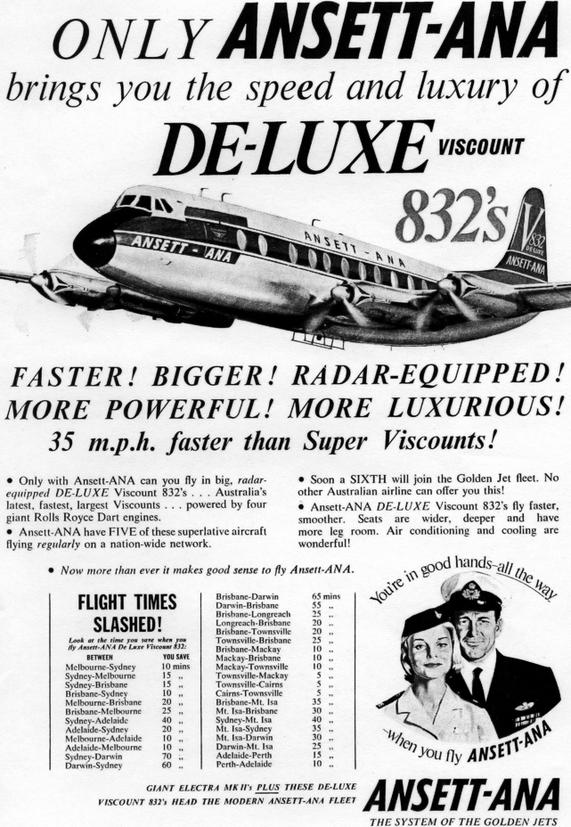 ANSETT-ANA 1961 advert anouncing the sixth V.800 series Viscount to join their fleet