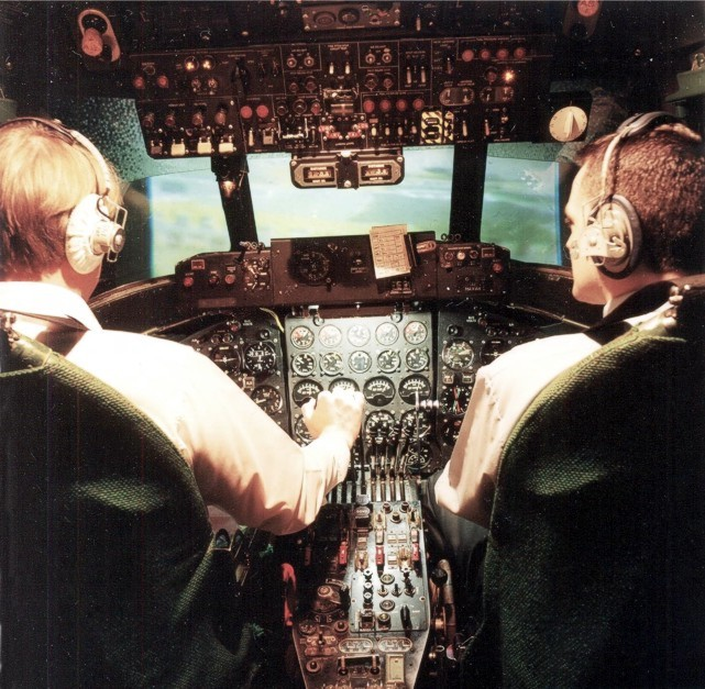 The cockpit of the BAF Viscount simulator