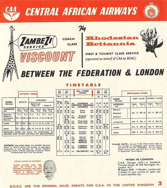 CAA - Central African Airways timetable circa 1958