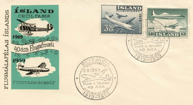 First day cover celebrating forty years of Icelandic Civil Aviation