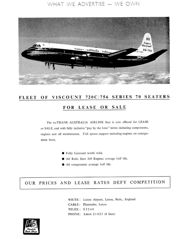 TAA - Trans Australia Airlines Viscount sale advert