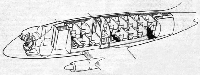 Interior layout will be similar to that shown in this sectional view of the fuselage.