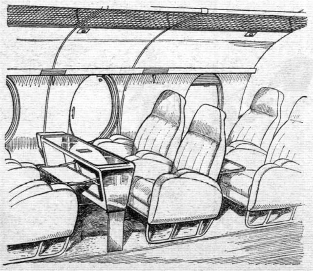 Large, high-backed seats and a new table have been especially designed. The large windows will provide an excellent view from the cabin.