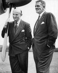 George Edwards (left) with J H 'Slim' Carmichael, president of Capital Airlines.
