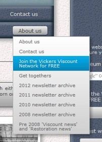 Vickers Viscount Network menu bar - Contact us