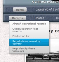 Vickers Viscount Network menu bar - records
