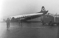 Damaged beyond economic repair after veering off the runway at Kirkwall, Orkney Isles, Scotland.