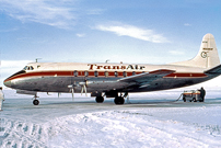 Painted in the Transair (Canada) Ltd. 'Red Stripe' livery.