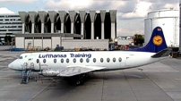 Repainted in Lufthansa livery with 'Lufthansa Training' titles.