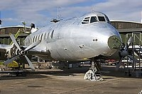 Completely stripped of paint for repainting in British European Airways (BEA) livery named as 'RMA Sir John Franklin'.